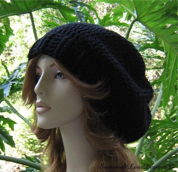 BLACK       ..........       Slouchy with Ribbed Brim