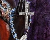 Silver Finish Light Blue Glass Rosary