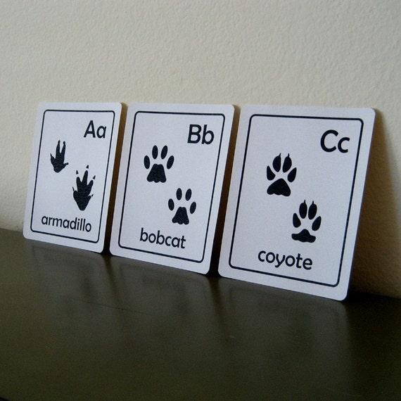Animal Tracks ABC Flash cards