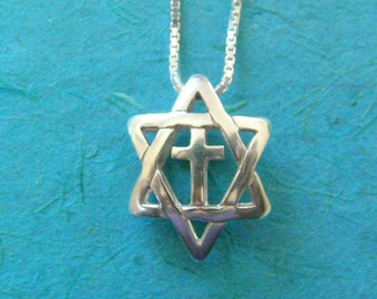 3D Star of David With Cross silver necklace- Jewish, Christian, Messianic pendant