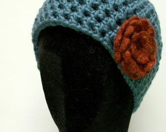 Beanie Hat  - Blue with Rust Flower
