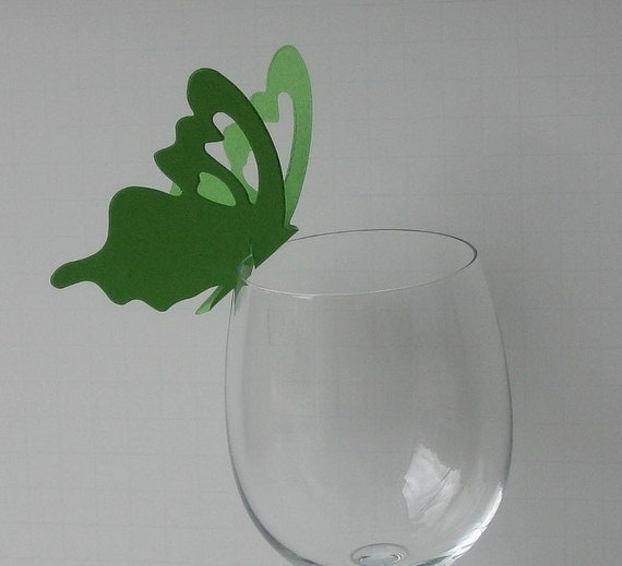 Wine Glass Butterfly Place Card Spring Green