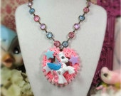 MY LITTLE Pony vintage style heart Necklace pink pompom shabby chic pastel stars glitter 80s eighties emo scene  fantasy toy