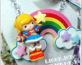 Rainbow Brite Huge Vintage Doll Statement NECKLACE retro 80s eighties toy figure star bow raver chunky emo scene lolita kawaii kitsch
