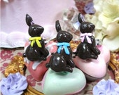 Faux Chocolate Easter Bunny RING- Pick One Pink Blue Yellow bow candy girly glam spring  lolita princess whimsical shabby chic