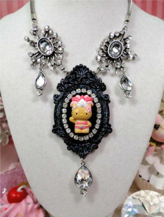40% OFF Sale Hello Kitty SHOWGIRL Cameo Necklace pinup pin up las vegas dancer pale pink black glitter jewels rhinestone crystal beads