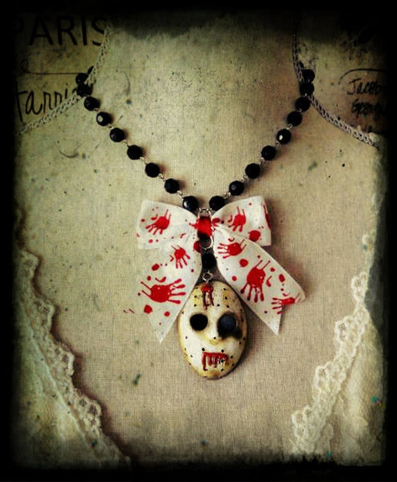Friday the 13th Jason Bloody Edgy Necklace voorhees hockey mask black monster horror dark creepy scary punk rock blood bow