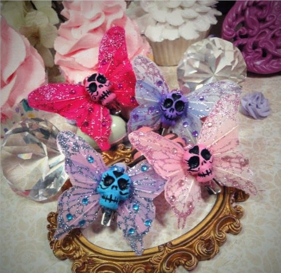 Sugar Skull Feather Butterfly Hair Clip- PICK ONE- Pink Blue Purple  chic emo accessory barrette glitter zombie psychobilly
