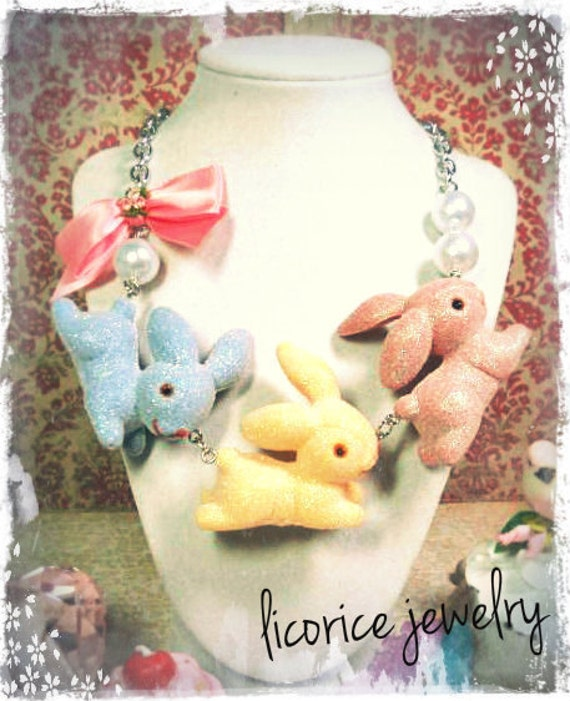 Hopping Sugar Candy Bunnies Statement Necklace vintage flower bow spring pearl pink blue yellow pastel easter shabby chic lolita whimsical