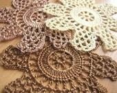 Hand Crocheted Flowers--Scrapbooking Applique Set (No 31)