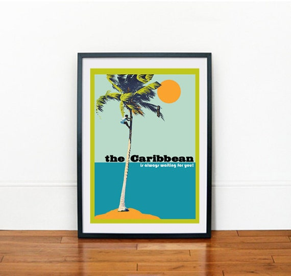 Vintage Giclée Art Print A3 The Caribbean