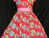 MICKEY on RED Christmas Dress DISNEY Custom Size