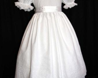 Stunning White Eyelet/Satin Communion/Portrait/Flower Girl Dress