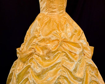 Belle GOWN Adult Size STUNNING Yellow Rose Satin Brocade
