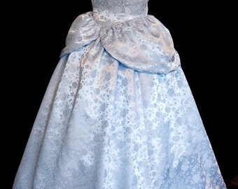 Cinderella GOWN Costume FLORAL Satin Brocade ADULT