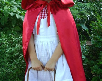 Red Riding Hood SATIN COSTUME Dress-Up Cape/Cloak
