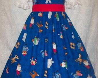 VHTF RUDOLPH on BLUE Christmas Dress Custom Size