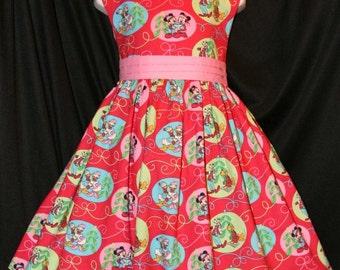 MICKEY on RED Christmas Dress DISNEY Custom Size