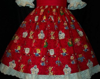 RUDOLPH on RED Christmas Dress Custom Size