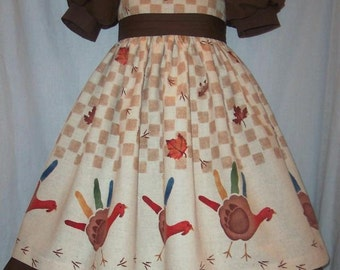 THANKSGIVING Turkey HANDPRINT Dress CUSTOM Size