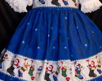 VHTF Daisy Kingdom STOCKING Border CHRISTMAS Jumper Dress Custom Size
