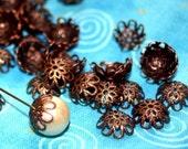 Antique Copper Tiny Pretty Filigree Beadcaps...50, small bead cap, copper