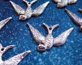 Bird  Charms, antique silver, tibetan silver, cast metal...12