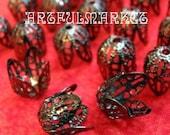 24 Gunmetal Filigree Rose Bud Beadcaps, (BC-FL-10030-GN)
