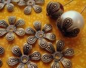 Antique Brass Bead Caps, Flexible Bead Caps, Flower Beadcaps, Wraps,Bronze Stampings, 20mm, Darling Daisy Bead Caps,Jewelry findings...24