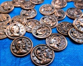 Copper Coin Charms,Small Copper Charms,Antique Copper,Stamped Coin Charms,Small Coins,Bohemian Findings,Bohemian Supplies,Boho Charms,50pcs.