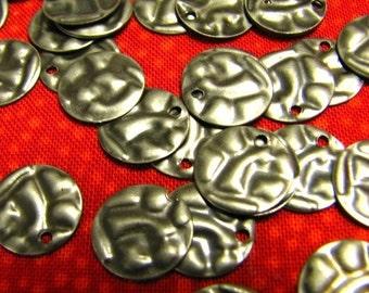Gunmetal Textured Circle Charms....24