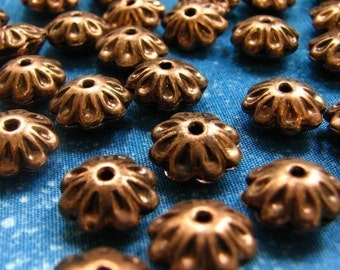Antique Copper Hollow Scalloped Beads...24