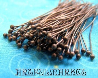 50 Antique Copper Headpins with 1.5mm Ball End, Head Pins, Ball End Pins, 46mm Head Pins, Jewelry Findings