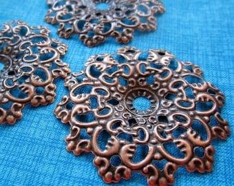 Filigree Circles,12 Antique Copper,Victorian Round,Filigree Stamping,Stamped Metal Filigree,Flexible Filigree,Copper Filigree,Wholesale,Bulk