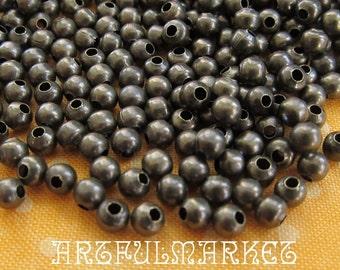 4mm Antique Brass Hollow Metal Beads...100