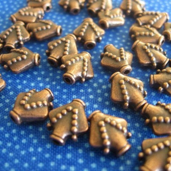 NEW....Antique Copper Dotted Vessel Beads...24