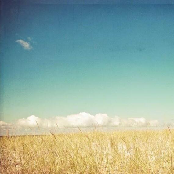 dreamy blue beach photography .ocean sand surf . summer landscape. nursery decor . landscape photograph . nature . Clouds on the Horizon - joystclaire