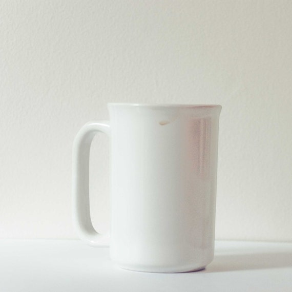 White on white kitchen art . coffee cup art print . modern kitchen decor . shabby chic wall art . simple decor . A Still Moment