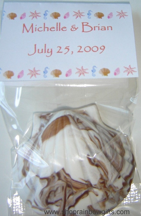 Items Similar To 100 Chocolate Seashell Wedding Favors Monas Chocolates On Etsy