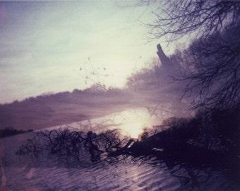 Polaroid photograph 8x10 purple violet amethyst lake dreamy foggy fine art photo print