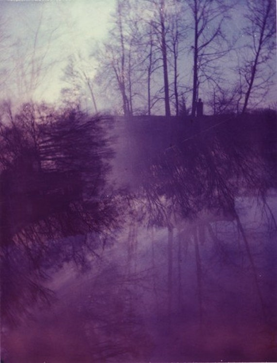 Purple Polaroid Photograph 8x10 dreamy forest trees autumn winter violet amethyst lilac foggy fine art print