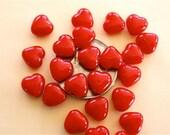 100 Opaque Red Czech Glass Heart Beads 6mm