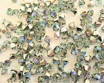 24 Crystal AB CAL Swarovski Crystals Bicone 5328 4mm