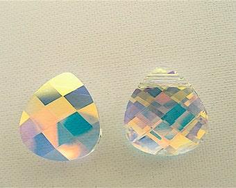 2 Crystal AB Swarovski Pendant Briolette 6012 15mm