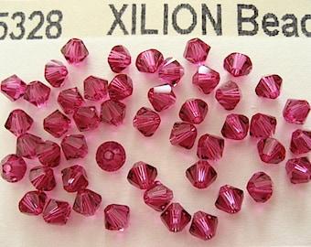 48 Fuchsia Swarovski Crystal Beads Bicone 5328 4mm