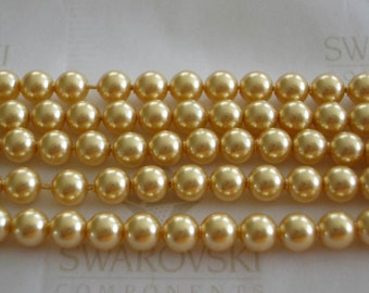 100 Gold Swarovski Crystal Beads Pearls 5810 4mm