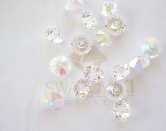 SALE 24 Clear Crystal AB Swarovski Spacer Beads 5305 5mm