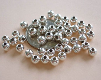 25 Sterling Silver Seamless Round Beads - 4mm
