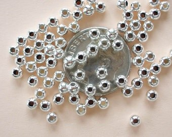 50 Sterling Silver Seamless Round Beads - 3mm