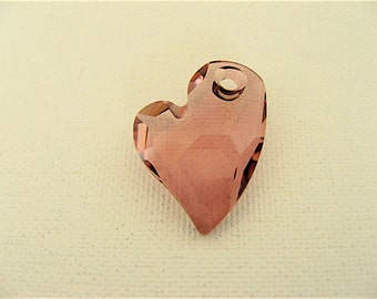 1 Crystal Antique Pink Swarovski Devoted 2 U Heart Pendant 6261 17mm